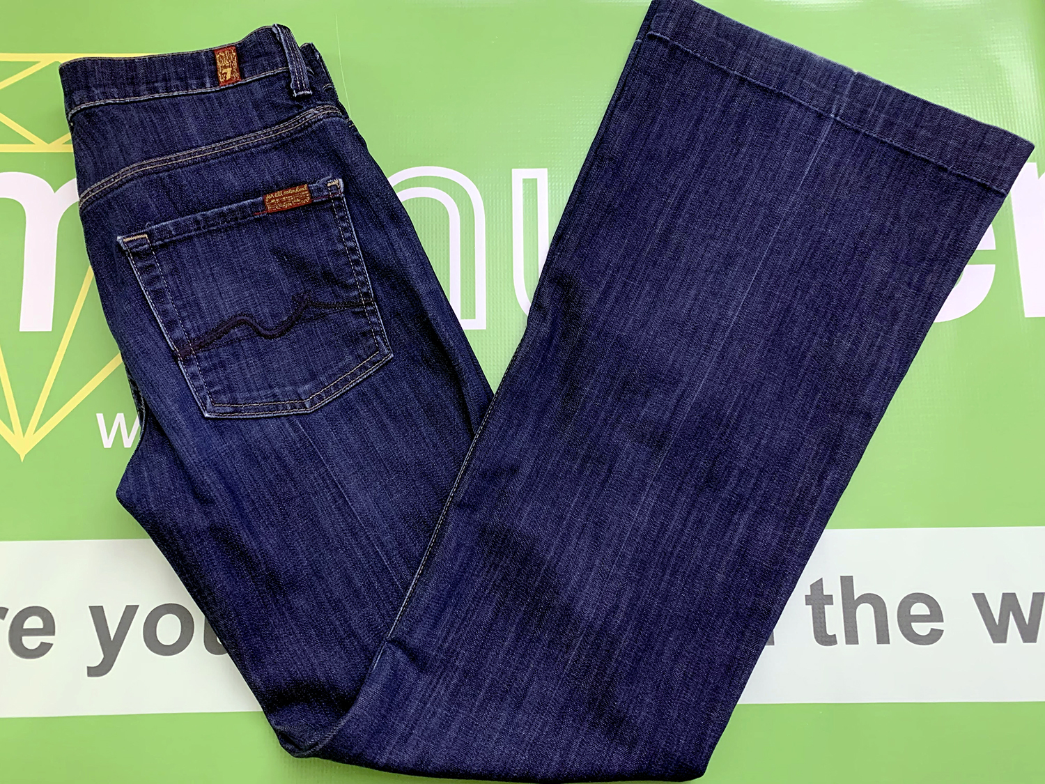 7 for All Mankind Womens Dark Blue Ginger Flare Leg Jeans Size 27