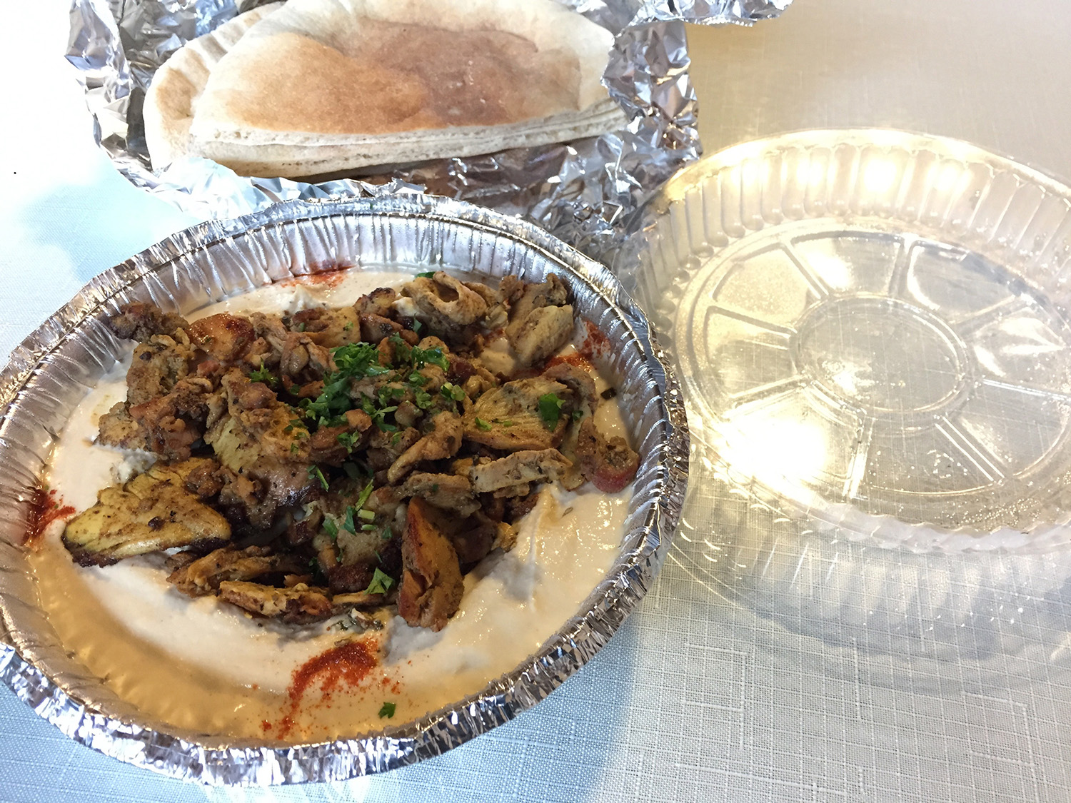 Hummus and Chicken Shawarma Plate