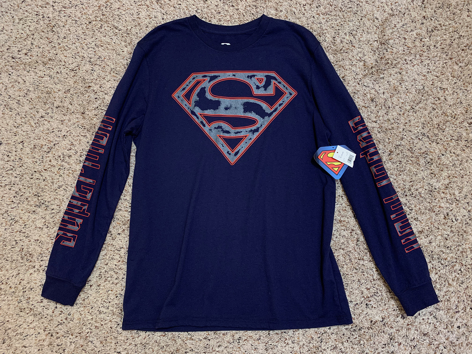 Mens Superman Logo Long Sleeve Shirt New With Tags Size M