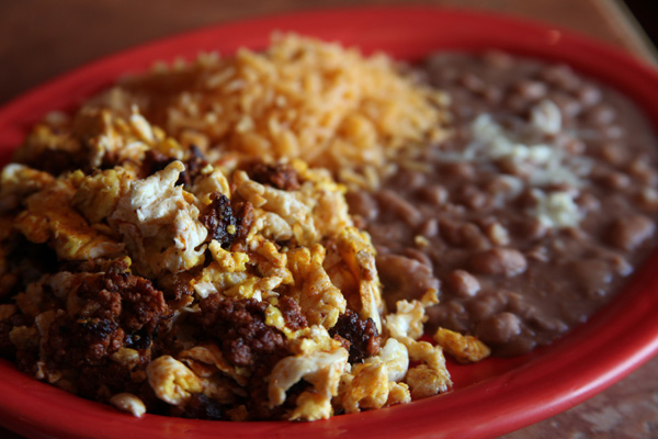 Burrito, rice and beans
