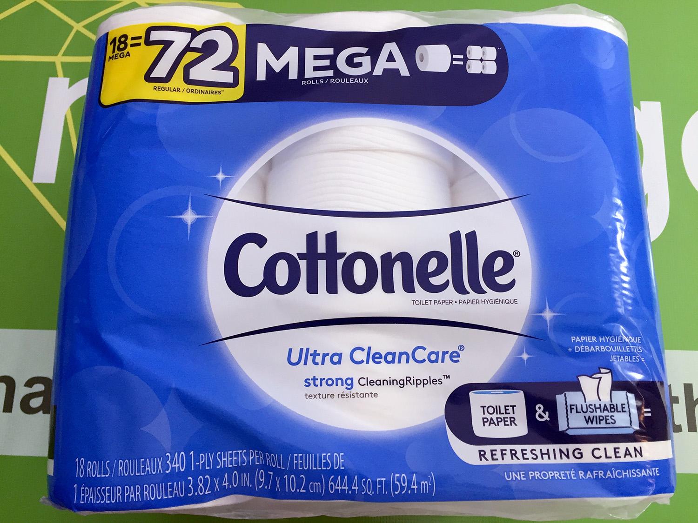 Cottonelle Ultra CleanCare Toilet Paper, 18 Mega Rolls