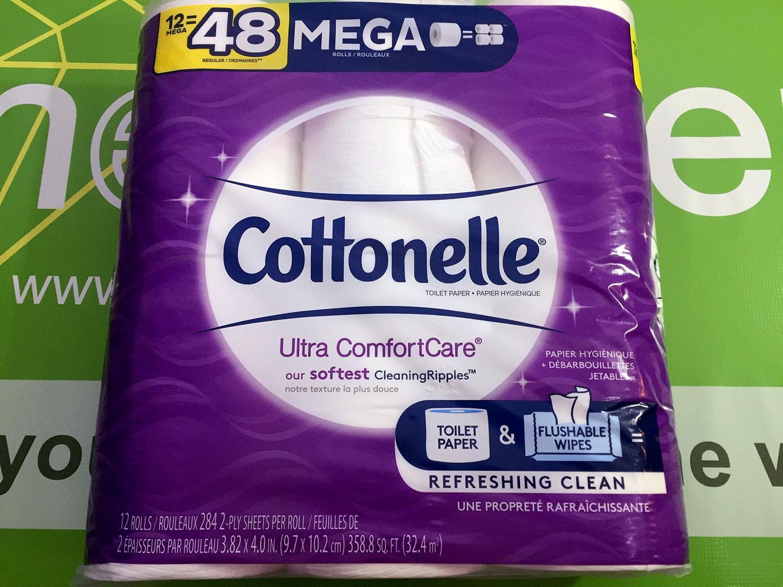 Cottonelle Ultra ComfortCare Toilet Paper, 12 Mega Rolls