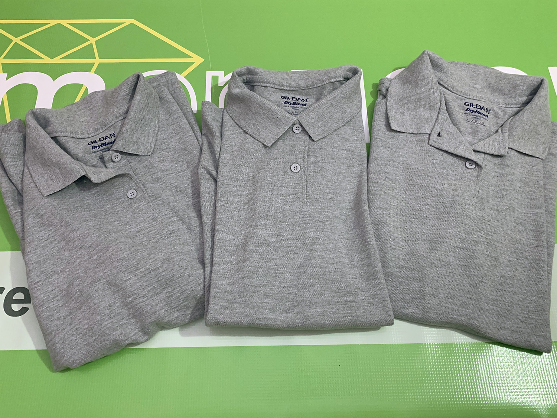 Lot of 3 Gildan Adult Womens DryBlend Polo Shirts, Grey Large