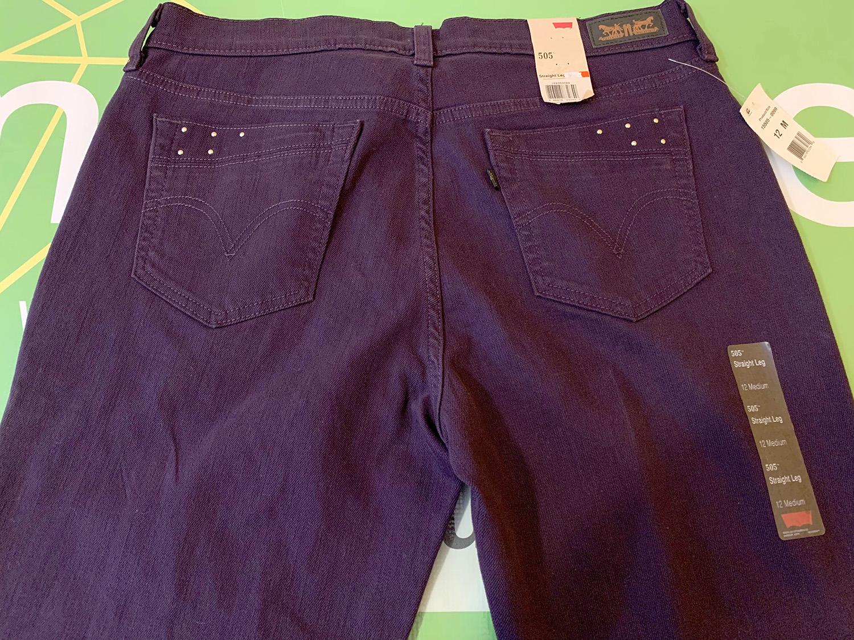 Levis Womens 505 Straight Purple Jeans Size 12M