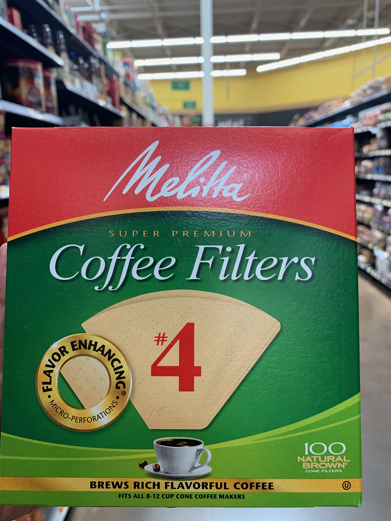 Melitta Natural Brown Cone Coffee Filters #4 Size (100 Count)