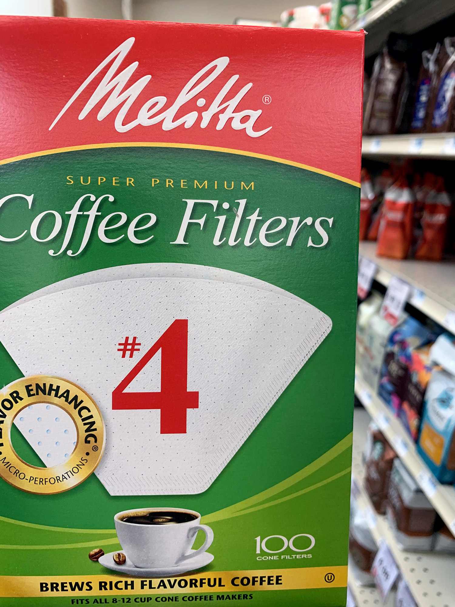 Melitta White Cone Coffee Filters #4 Size (100 Count)
