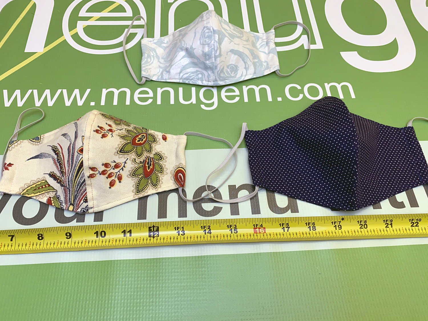 MenuGem Standard Mask 3 Pack - 2 Floral 1 Blue White Dots