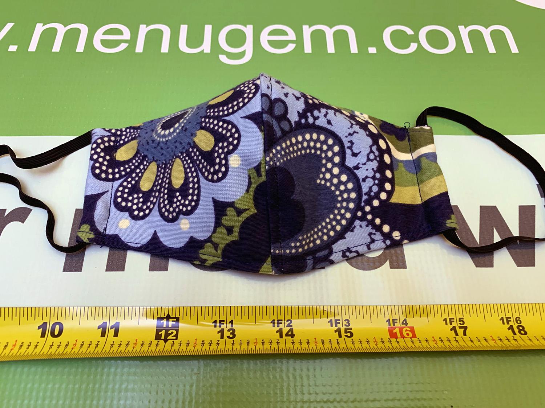MenuGem Standard Mask Single - Blue Floral print