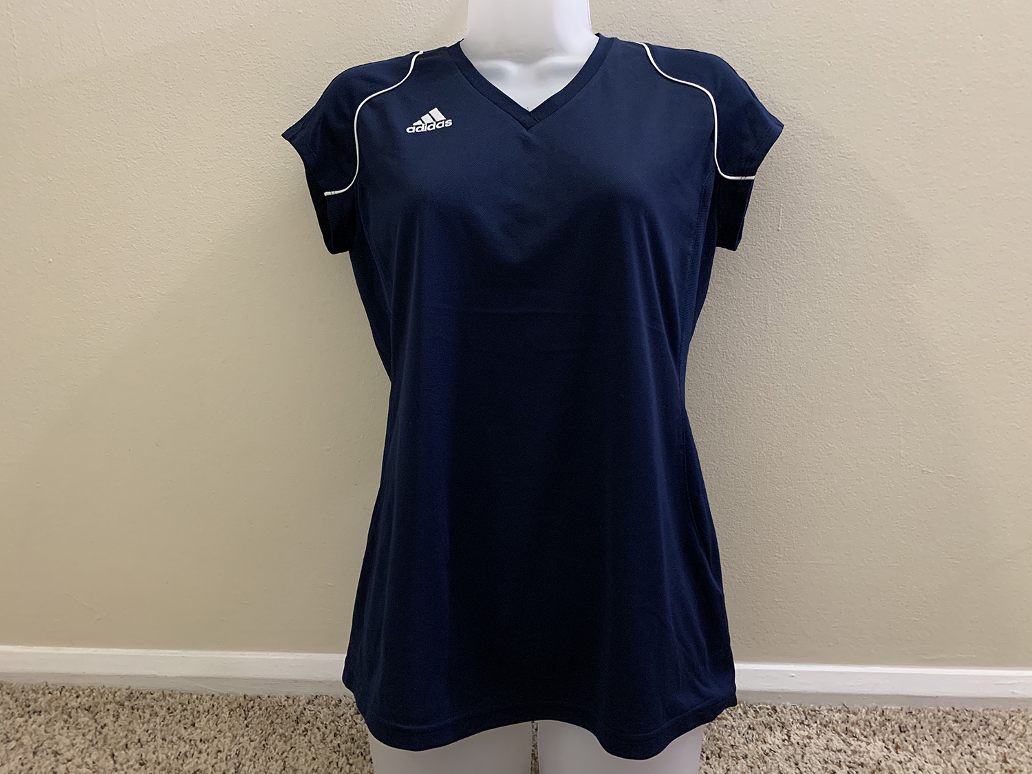 Adidas Womens Team Performance Navy Short Sleeve V Neck Shirt S
