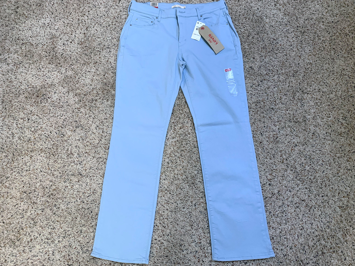 Levis Womens 505 Straight Light Blue Stretch Jeans Size 12 M