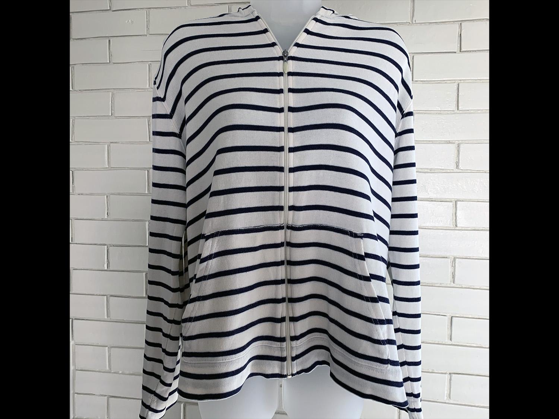 L.L.Bean Womens Cream and Navy Striped Hoodie Size XL Regular