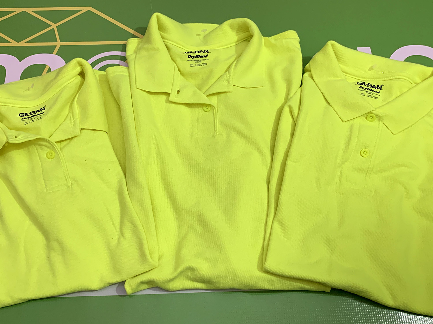 Lot of 3 Gildan Womens DryBlend Polo Fluorescent Yellow 1 M 2 2XL