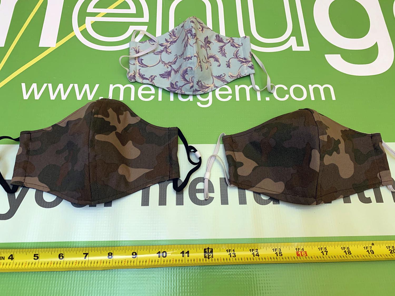 MenuGem Standard Mask 3 Pack - 2 Camouflage 1 Holly at The MenuGem Web Store