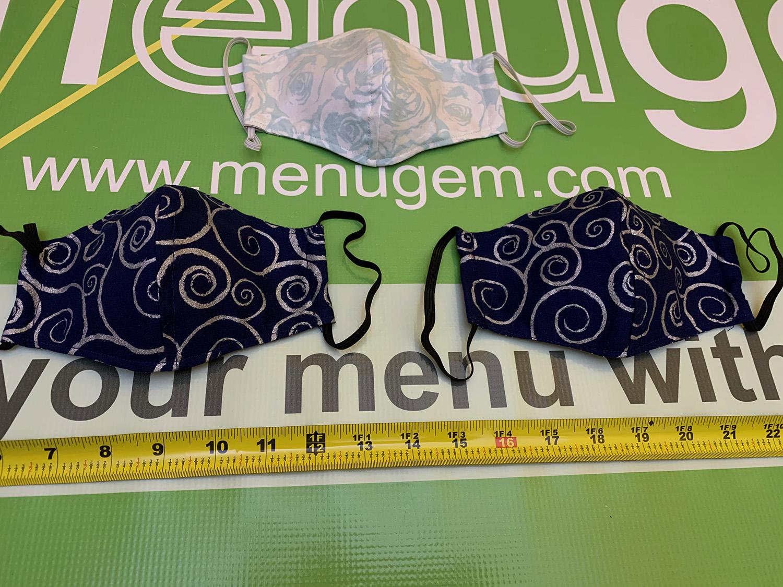 MenuGem Standard Mask 3 Pack - 2 Blue Silver Swirls 1 Floral